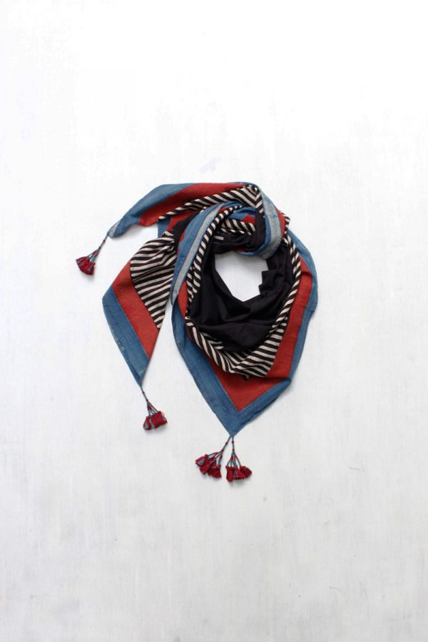 Ajrakh Scarf – Black solid with stripes
