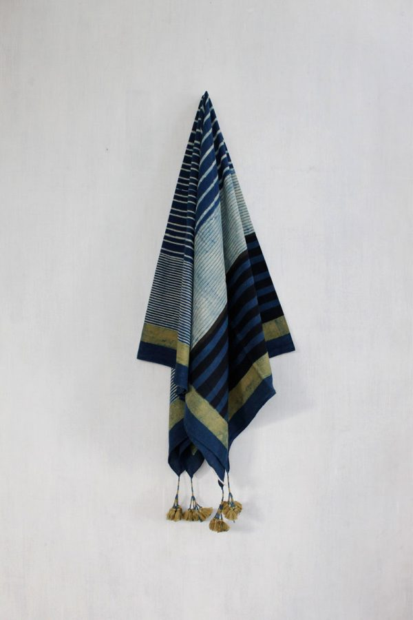 Ajrakh Scarf – Indigo Play of Stripes