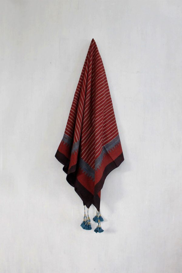 Ajrakh Scarf – Burgundy stripes