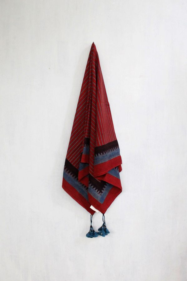 Ajrakh Scarf – Red stripes