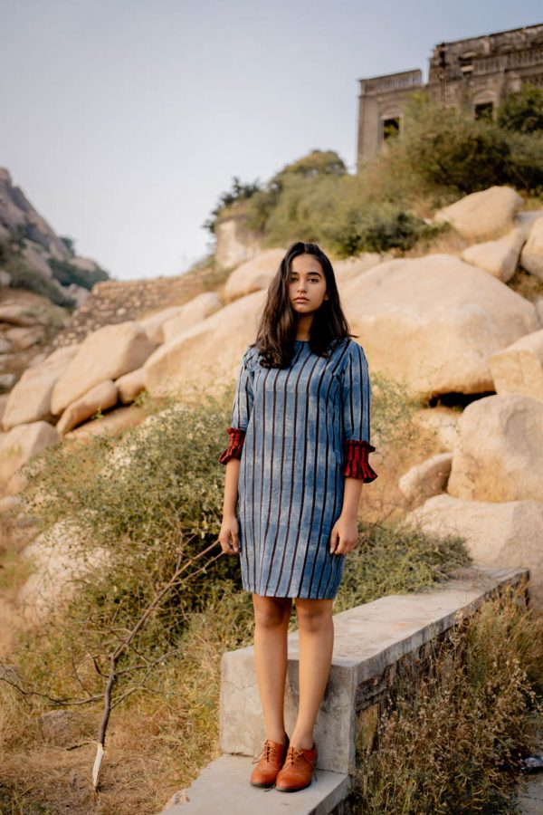Shift Dress – Indigo & Black