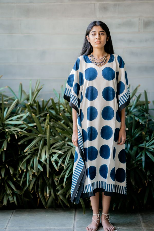 Kaftan Dress – Indigo Circles & Black