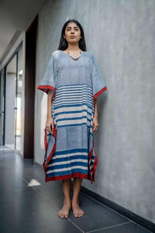Kaftan Dress – Indigo Stripe Gradation
