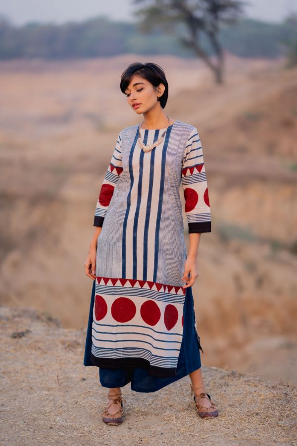 Everyday Kurta – Indigo Centre Stripes