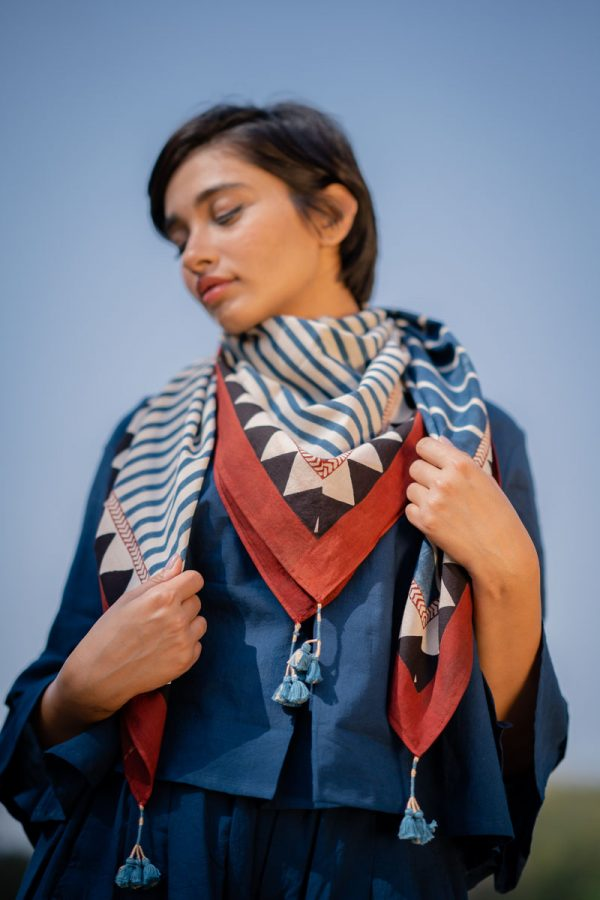Cotton Scarf – Indigo Stripes