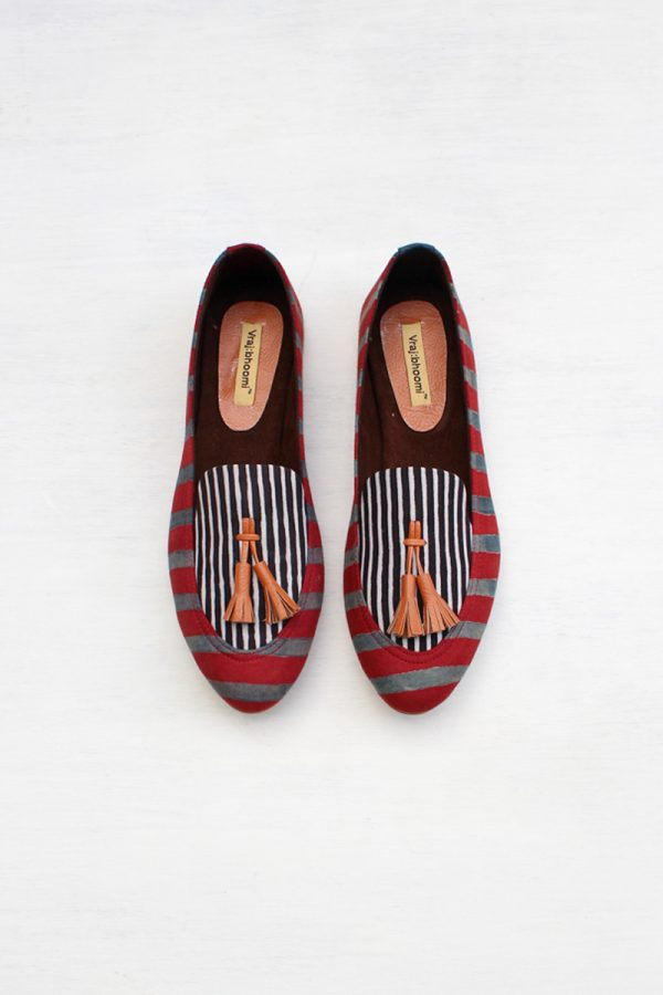 Loafers – Red & Black All Stripes