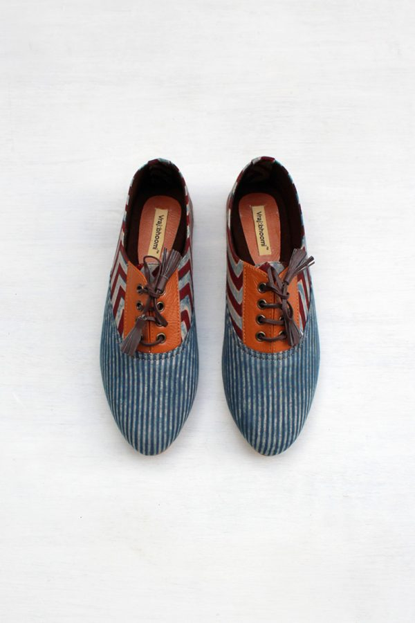 Brogues – Indigo Stripes & Chevron