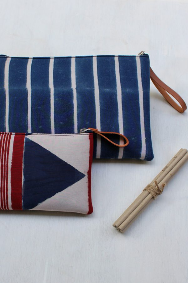Travel Essentials Pouch (Set of 2) – Indigo Stripes