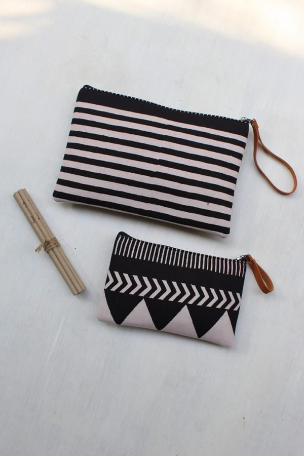 Travel Essentials Pouch (Set of 2) – Black Stripes