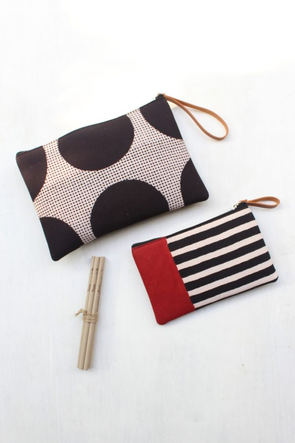 Travel Essentials Pouch (Set of 2) – Black Circle & stripes