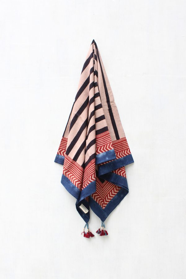 Cotton Scarf – Stripes Black