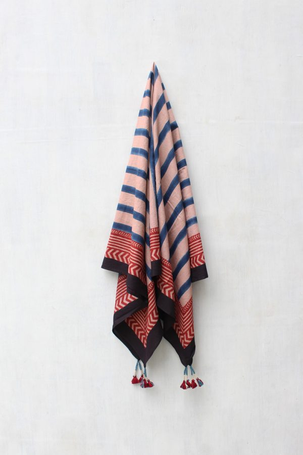 Cotton Scarf – Stripes Indigo