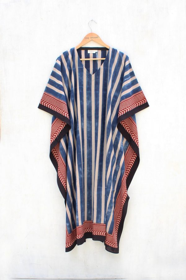 Freesize Kaftan Dress – Indigo All Stripes