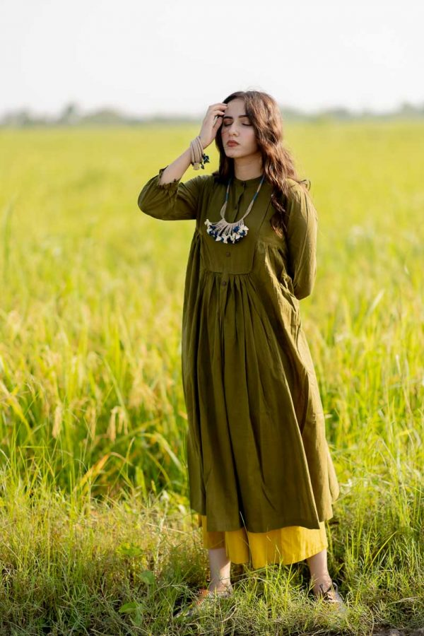 Side Pleat Tunic – Olive