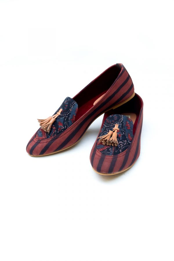 Loafers – Black Abstract & Maroon