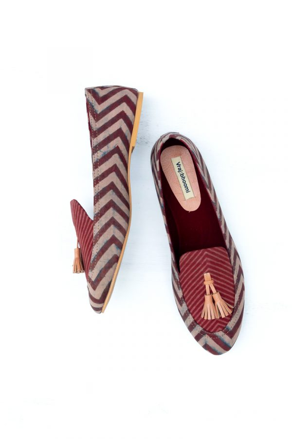Loafers – Burgundy Chevrons
