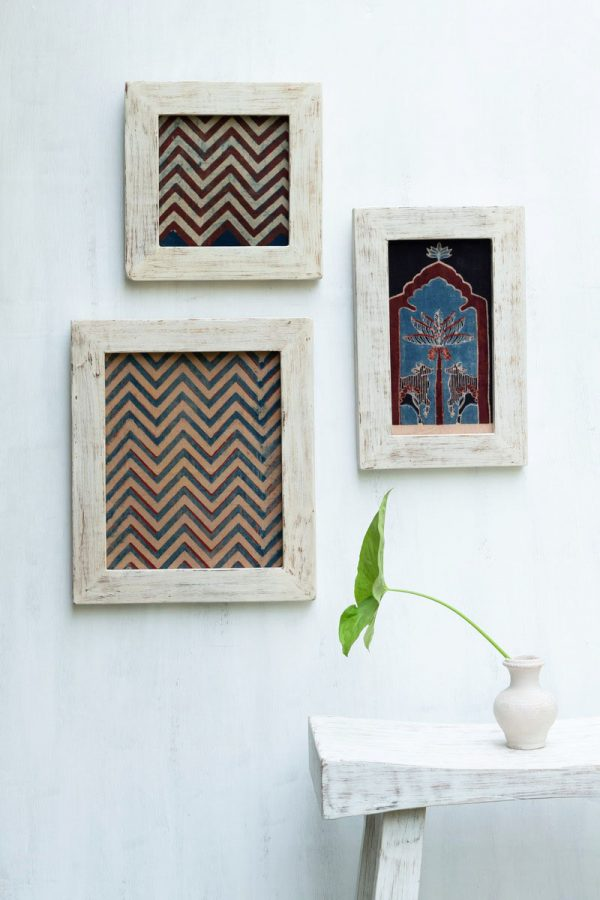 Set of 3 Wooden Frames with Pichwai Motif – Shyam 01